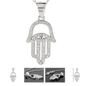 Silver Hamsa Pendant with chain in .925 Sterling
